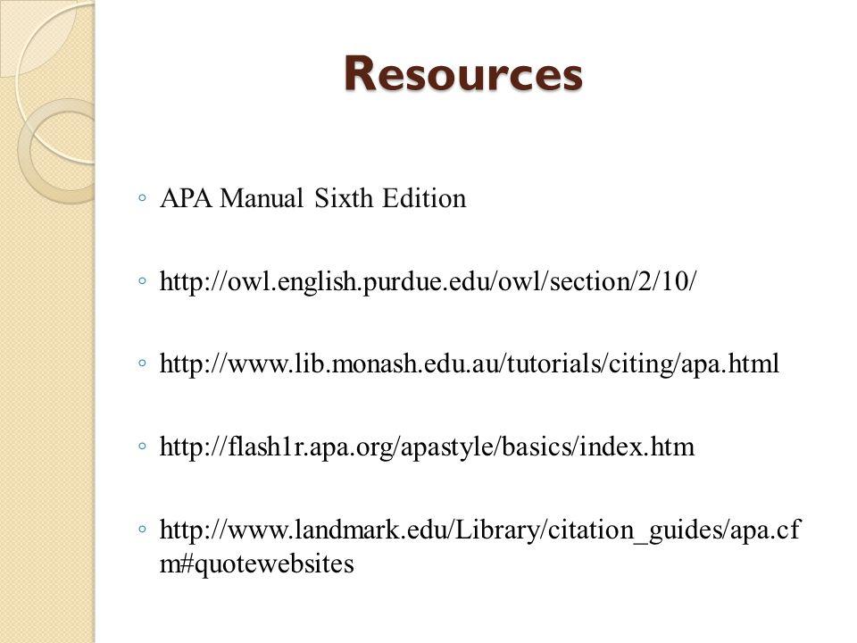 ResourcesBasic FormattingBasic Stylistic The American Psychological Association (APA)
