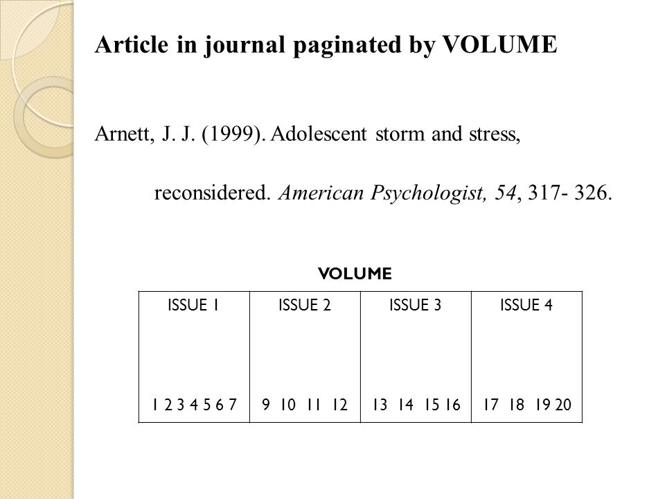 Article in journal paginated by VOLUME Arnett, J. J.