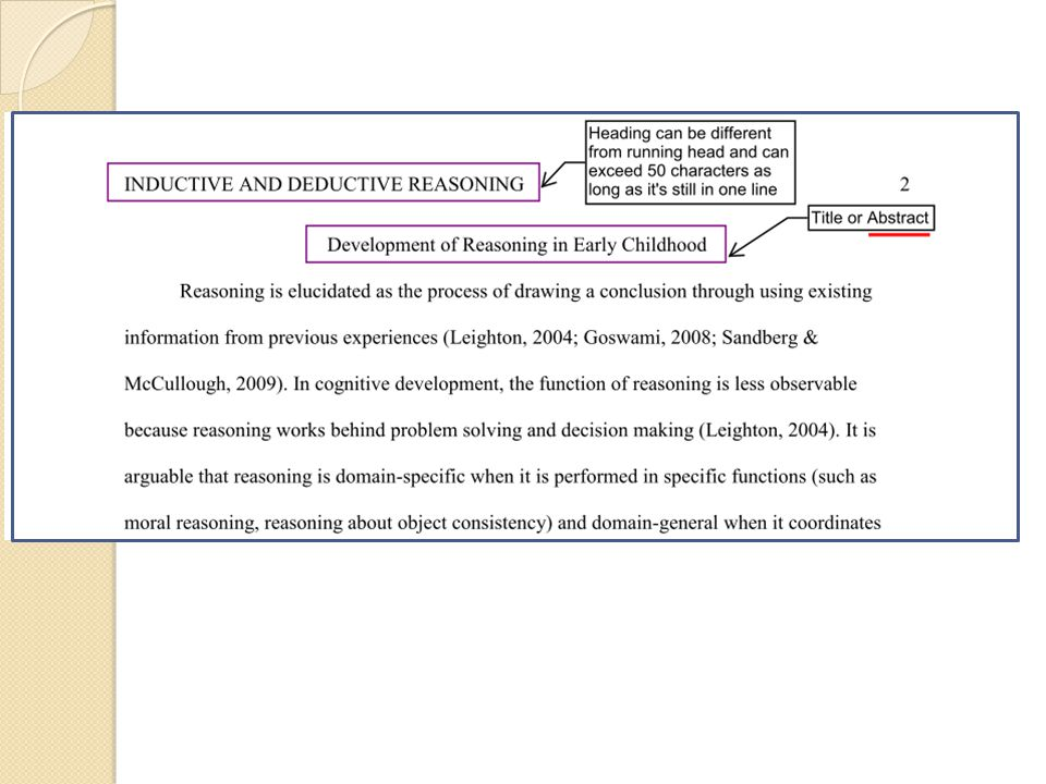 Headings : (cited from OWL Purdue Online Writing Lab) APA headings and seritations (n.d.).