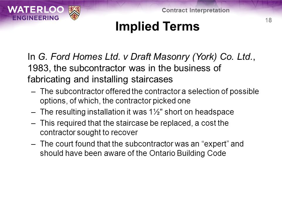 Implied Terms In G. Ford Homes Ltd. v Draft Masonry (York) Co.
