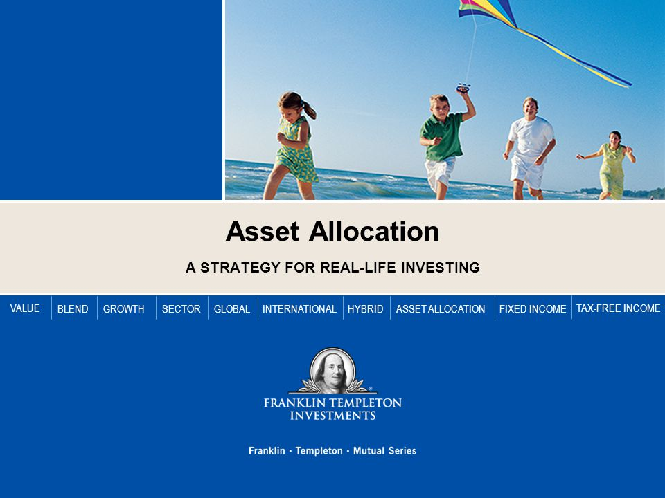 VALUE BLENDGROWTHSECTORGLOBALINTERNATIONALFIXED INCOME TAX-FREE INCOME HYBRIDASSET ALLOCATION Asset Allocation A STRATEGY FOR REAL-LIFE INVESTING