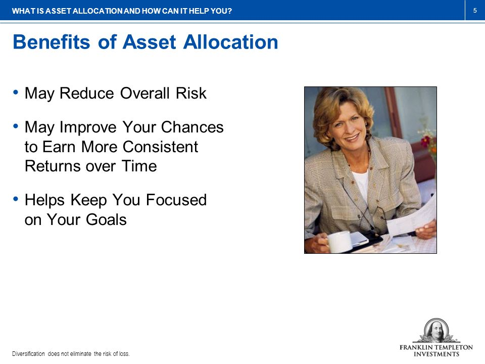 Benefits of Asset Allocation Diversification does not eliminate the risk of loss.
