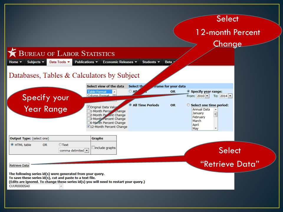 Select 12-month Percent Change Select Retrieve Data Specify your Year Range
