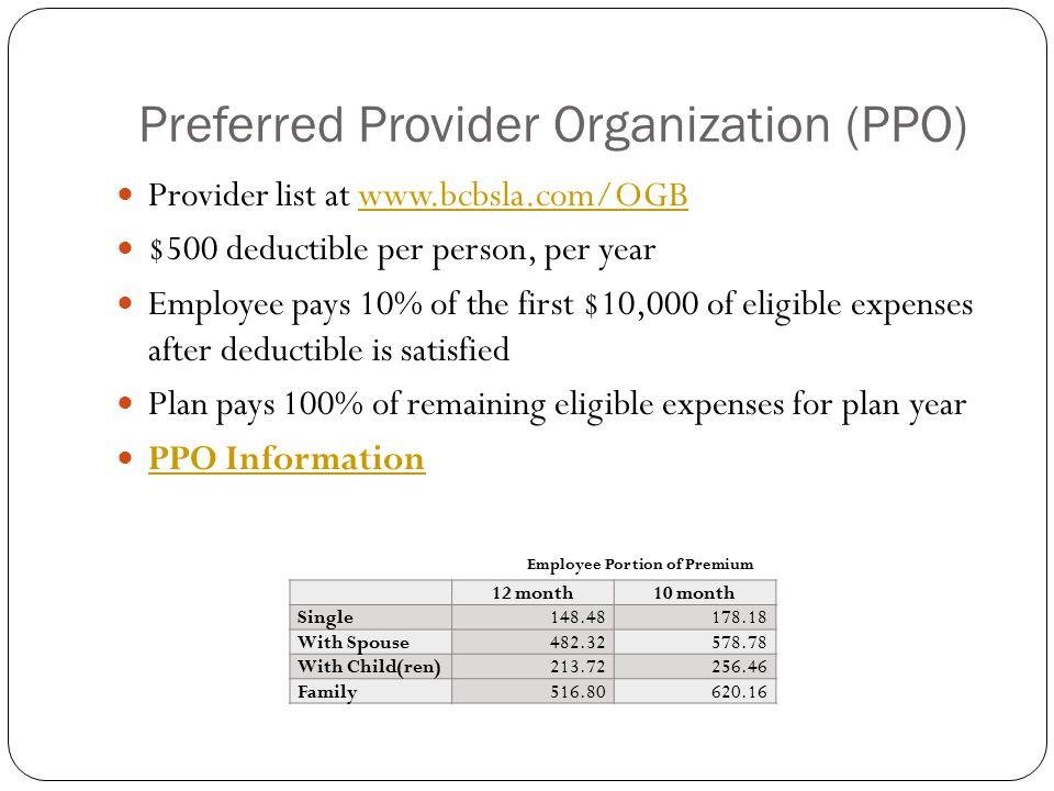 Preferred Provider Organization (PPO) Provider list at www.bcbsla.com/OGBwww.bcbsla.com/OGB $500 deductible per person, per year Employee pays 10% of