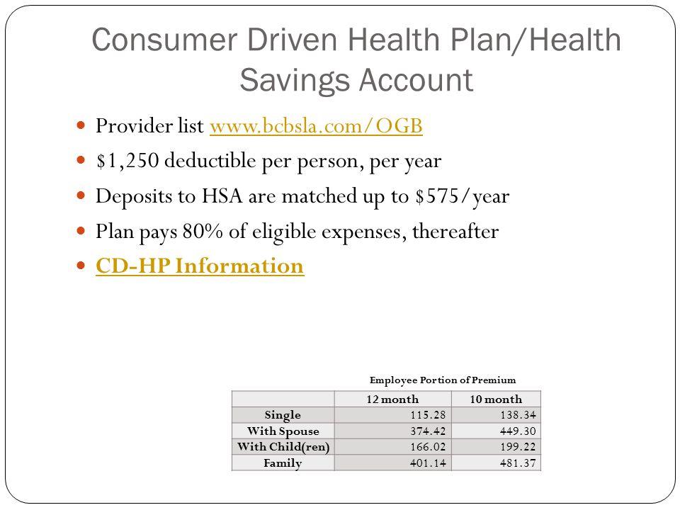 Consumer Driven Health Plan/Health Savings Account Provider list www.bcbsla.com/OGBwww.bcbsla.com/OGB $1,250 deductible per person, per year Deposits