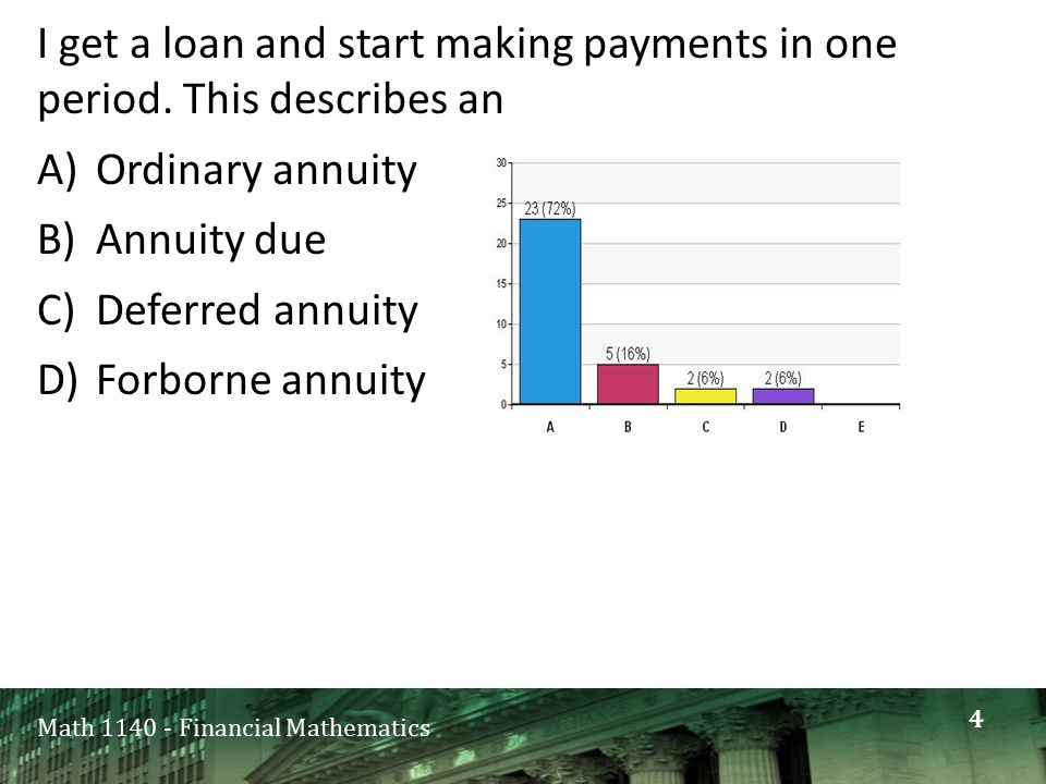 Math 1140 - Financial Mathematics I get a loan and start making payments in one period.