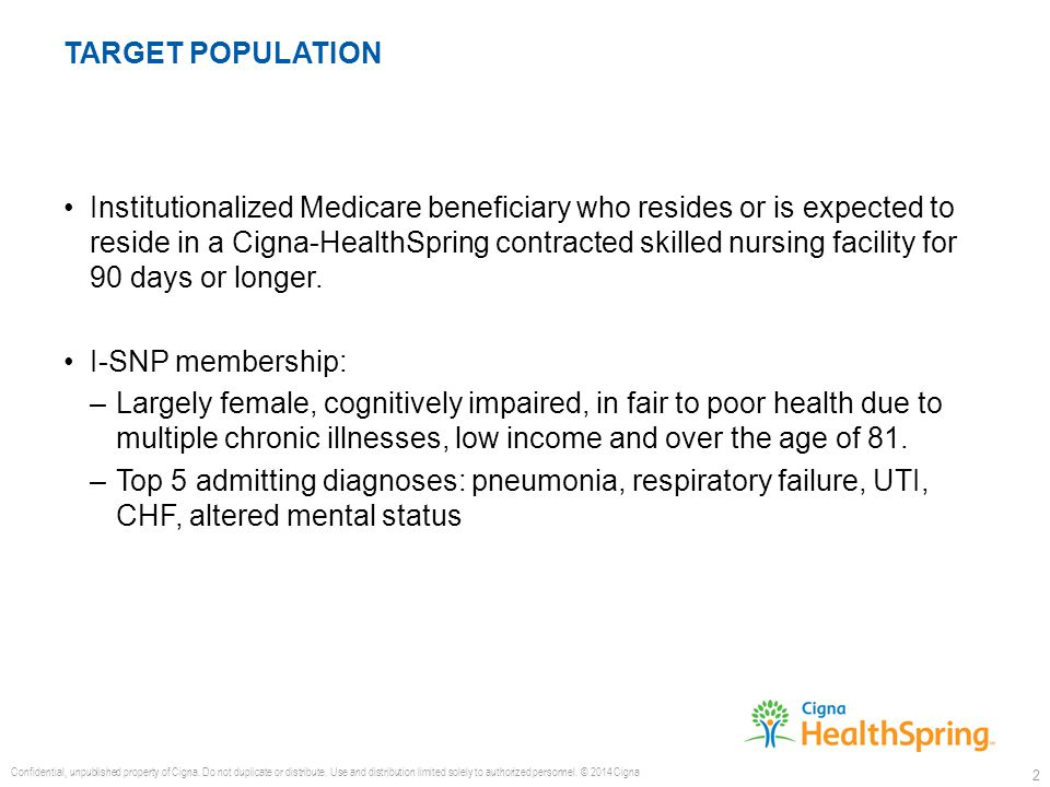 Institutionalized Medicare beneficiary who resides or is expected to reside in a Cigna-HealthSpring contracted skilled nursing facility for 90 days or longer.