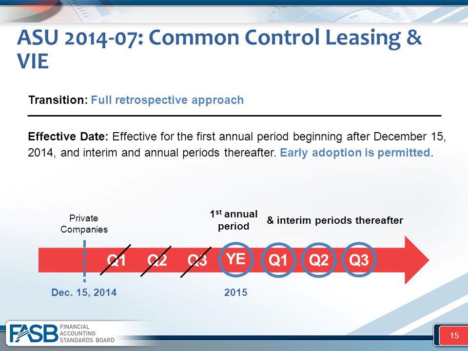 ASU 2014-07: Common Control Leasing & VIE 15 Private Companies Dec. 15, 2014 1 st annual period Q1 Q2 Q3 YE Q1 Q2 Q3 & interim periods thereafter Effe