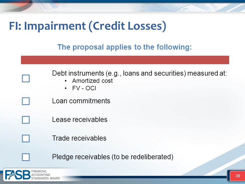 FI: Impairment (Credit Losses) 39 The proposal applies to the following: Debt instruments (e.g., loans and securities) measured at: Loan commitments L