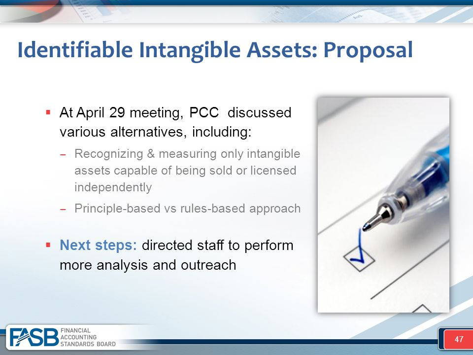 At April 29 meeting, PCC discussed various alternatives, including: ‒ Recognizing & measuring only intangible assets capable of being sold or licens