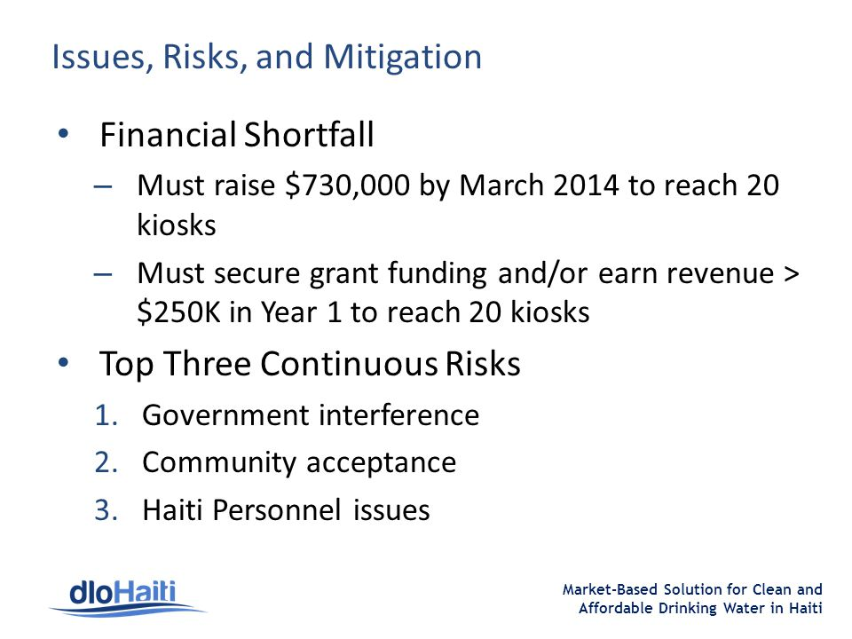 Market-Based Solution for Clean and Affordable Drinking Water in Haiti Issues, Risks, and Mitigation Financial Shortfall – Must raise $730,000 by March 2014 to reach 20 kiosks – Must secure grant funding and/or earn revenue > $250K in Year 1 to reach 20 kiosks Top Three Continuous Risks 1.Government interference 2.Community acceptance 3.Haiti Personnel issues