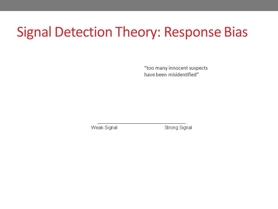 Signal Detection Theory: Response Bias present absent too many innocent suspects have been misidentified Conservative response bias: Identify only if confidence is very high