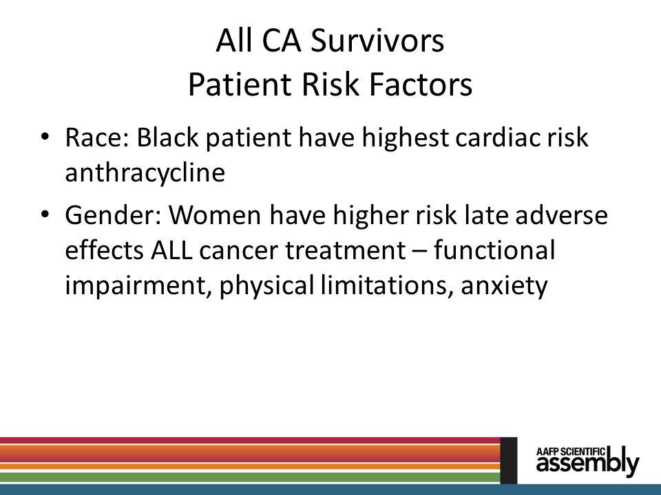 All CA Survivors Patient Risk Factors Race: Black patient have highest cardiac risk anthracycline Gender: Women have higher risk late adverse effects