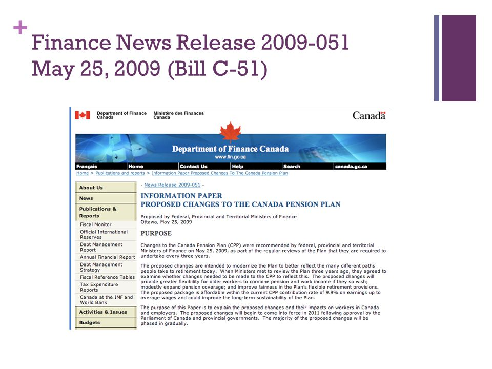 + Finance News Release 2009-051 May 25, 2009 (Bill C-51)