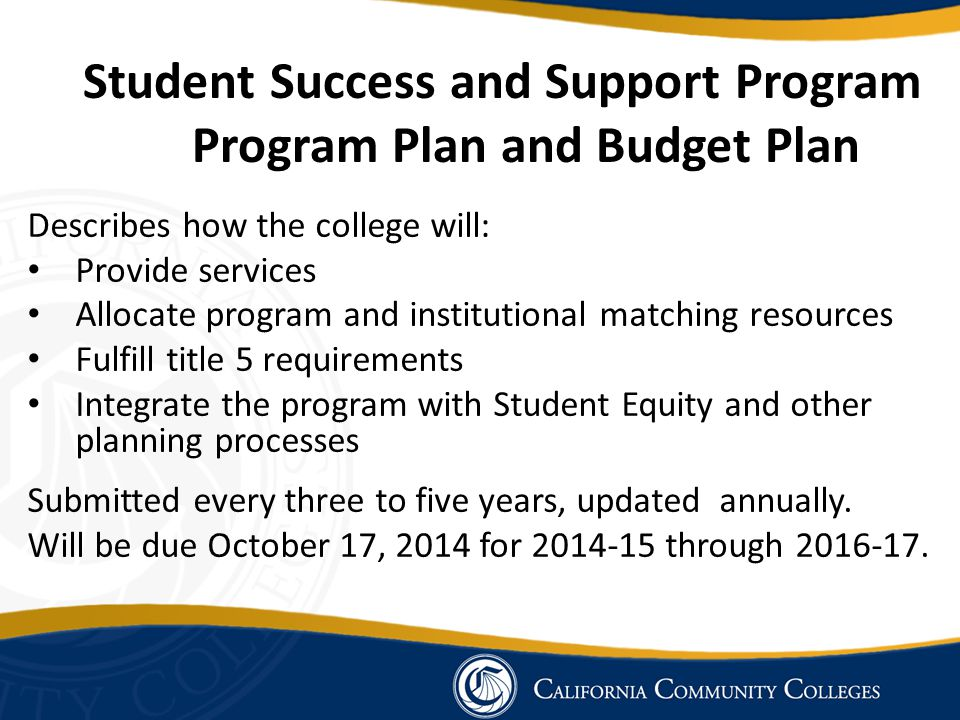 Student Success and Support Program Program Plan and Budget Plan Describes how the college will: Provide services Allocate program and institutional m