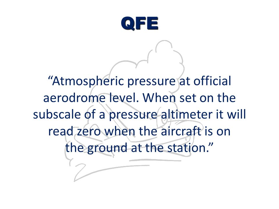 "QFE ""Atmospheric pressure at official aerodrome level. When set on the subscale of a pressure altimeter it will read zero when the aircraft is on the"