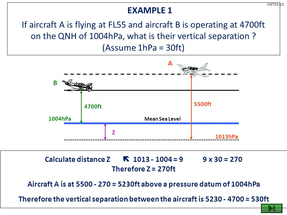 EXAMPLE 1 If aircraft A is flying at FL55 and aircraft B is operating at 4700ft on the QNH of 1004hPa, what is their vertical separation ? (Assume 1hP