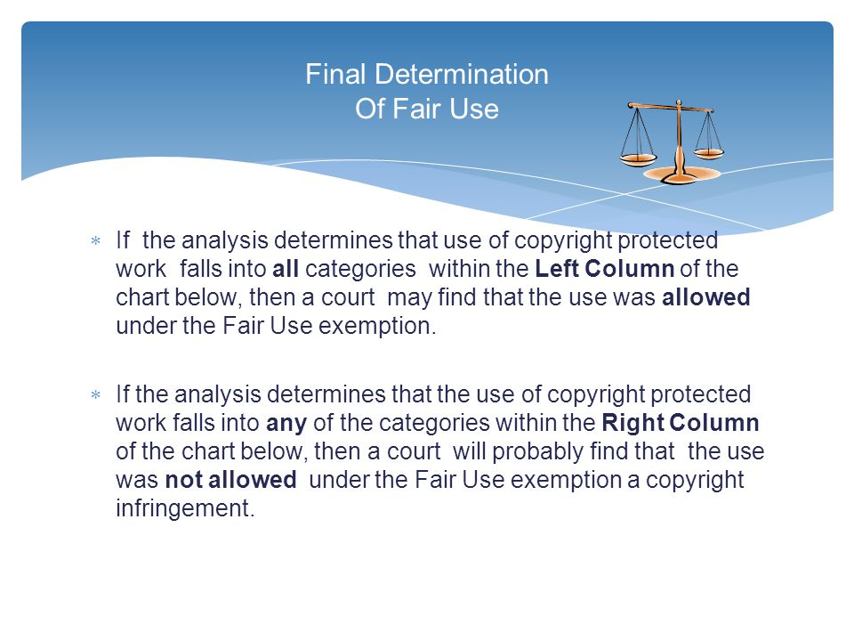  If the analysis determines that use of copyright protected work falls into all categories within the Left Column of the chart below, then a court ma