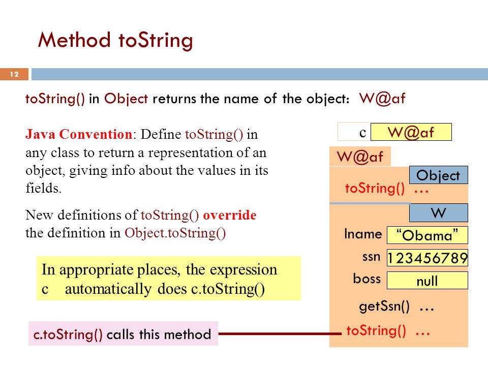 Method toString 12 Object W@af lname Obama ssn 123456789 boss null W getSsn() … toString() … toString() in Object returns the name of the object: W@af Java Convention: Define toString() in any class to return a representation of an object, giving info about the values in its fields.