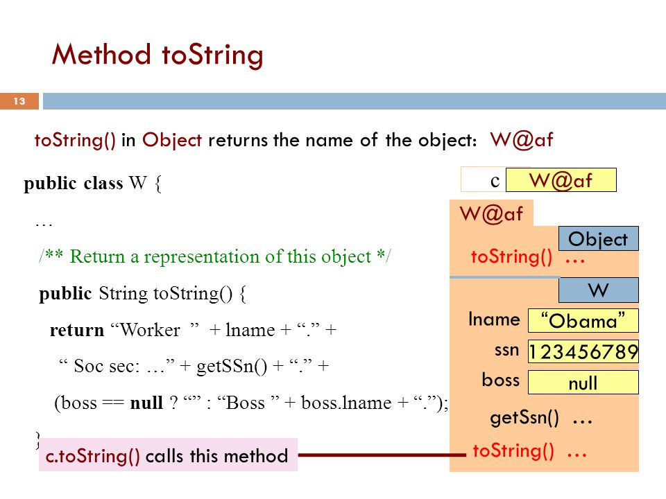 Method toString 13 Object W@af lname Obama ssn 123456789 boss null W getSsn() … toString() … toString() in Object returns the name of the object: W@af public class W { … /** Return a representation of this object */ public String toString() { return Worker + lname + . + Soc sec: … + getSSn() + . + (boss == null .