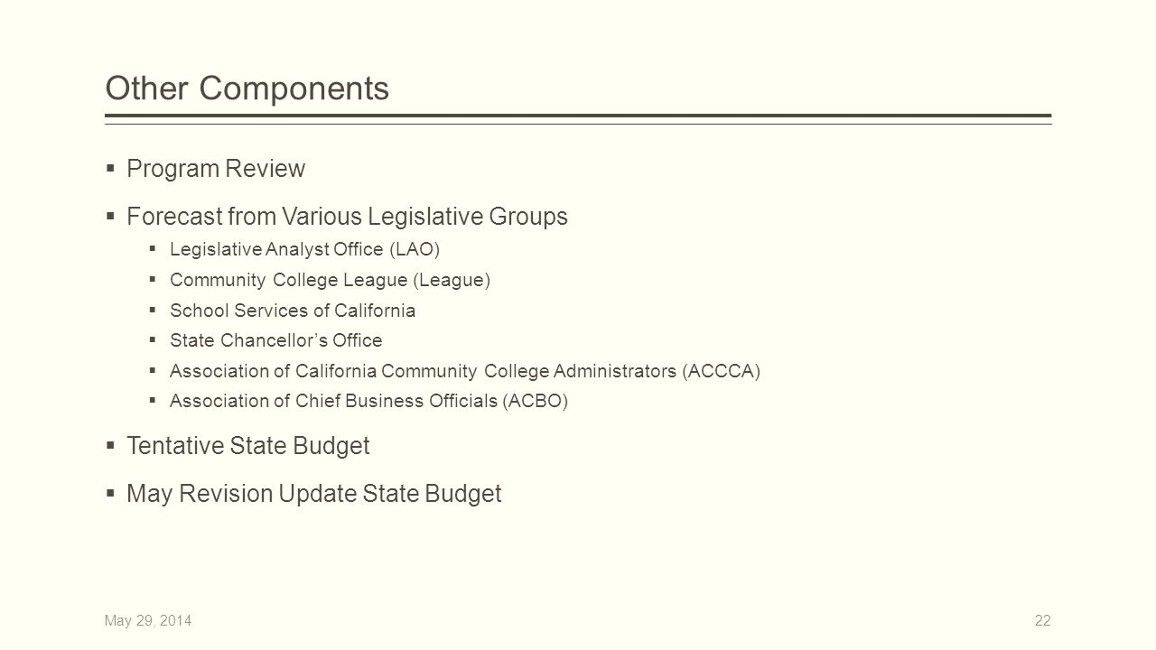 Other Components  Program Review  Forecast from Various Legislative Groups  Legislative Analyst Office (LAO)  Community College League (League)  School Services of California  State Chancellor's Office  Association of California Community College Administrators (ACCCA)  Association of Chief Business Officials (ACBO)  Tentative State Budget  May Revision Update State Budget 22May 29, 2014