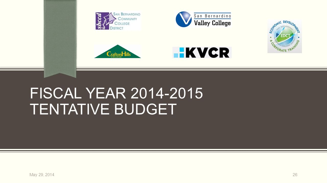 FISCAL YEAR 2014-2015 TENTATIVE BUDGET 26May 29, 2014