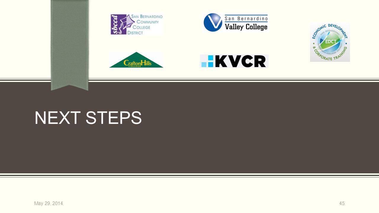 NEXT STEPS 45May 29, 2014