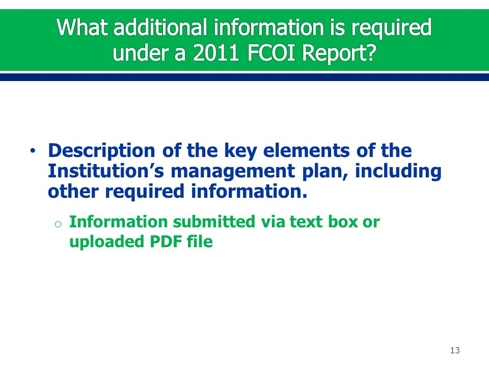 Description of the key elements of the Institution's management plan, including other required information.