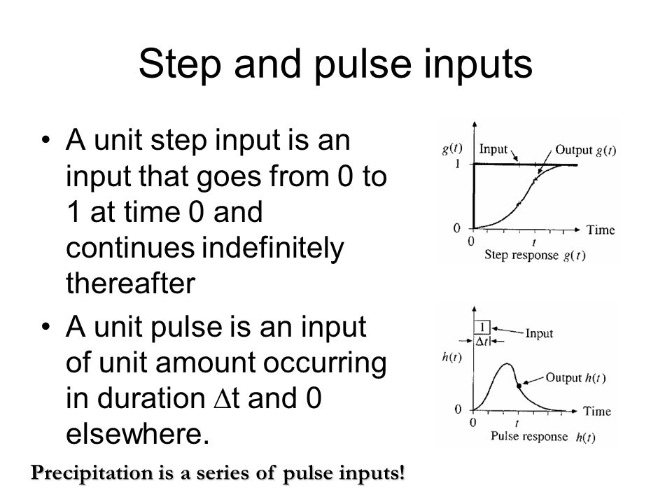 Step and pulse inputs A unit step input is an input that goes from 0 to 1 at time 0 and continues indefinitely thereafter A unit pulse is an input of unit amount occurring in duration  t and 0 elsewhere.