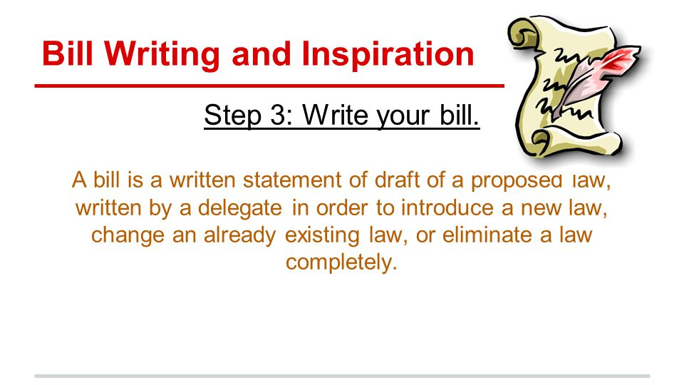 Bill Writing and Inspiration Step 3: Write your bill.