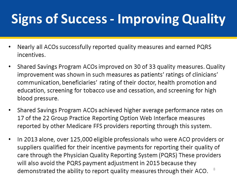Signs of Success - Improving Quality Nearly all ACOs successfully reported quality measures and earned PQRS incentives.