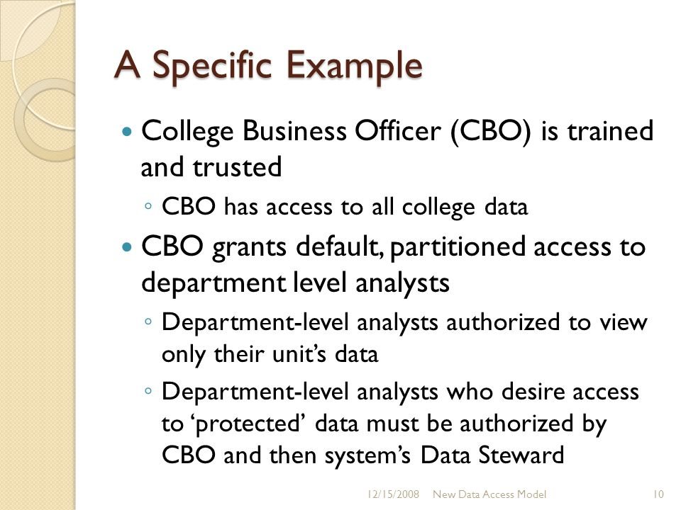 A Specific Example College Business Officer (CBO) is trained and trusted ◦ CBO has access to all college data CBO grants default, partitioned access t