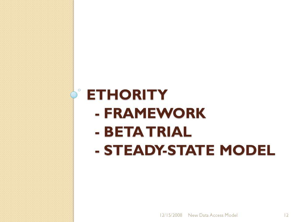 ETHORITY - FRAMEWORK - BETA TRIAL - STEADY-STATE MODEL 12/15/2008New Data Access Model12