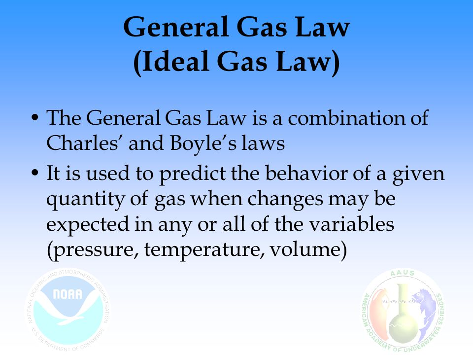 General Gas Law (Ideal Gas Law) The General Gas Law is a combination of Charles' and Boyle's laws It is used to predict the behavior of a given quanti