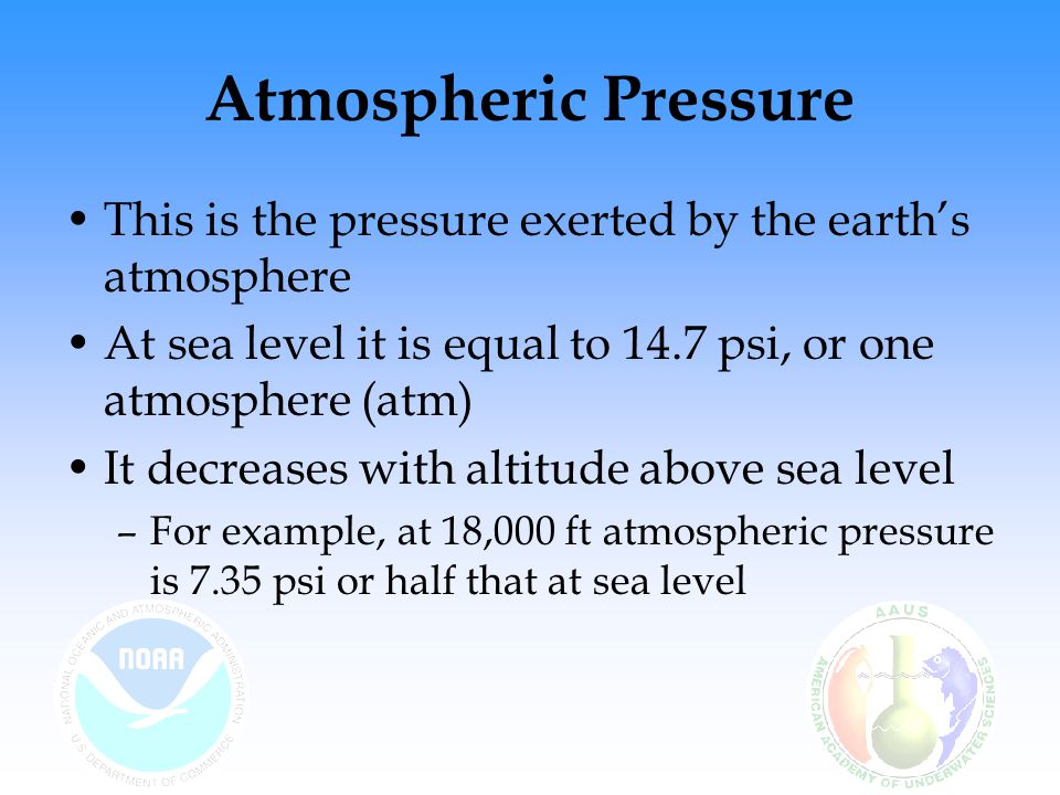 Atmospheric Pressure This is the pressure exerted by the earth's atmosphere At sea level it is equal to 14.7 psi, or one atmosphere (atm) It decreases