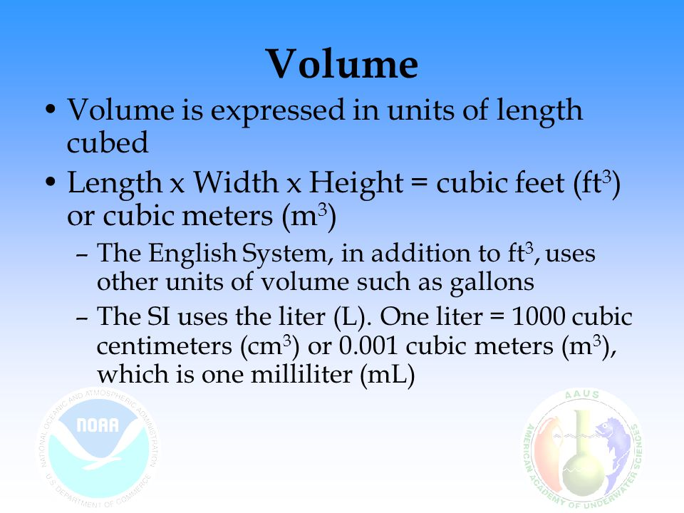 Volume Volume is expressed in units of length cubed Length x Width x Height = cubic feet (ft 3 ) or cubic meters (m 3 ) –The English System, in additi