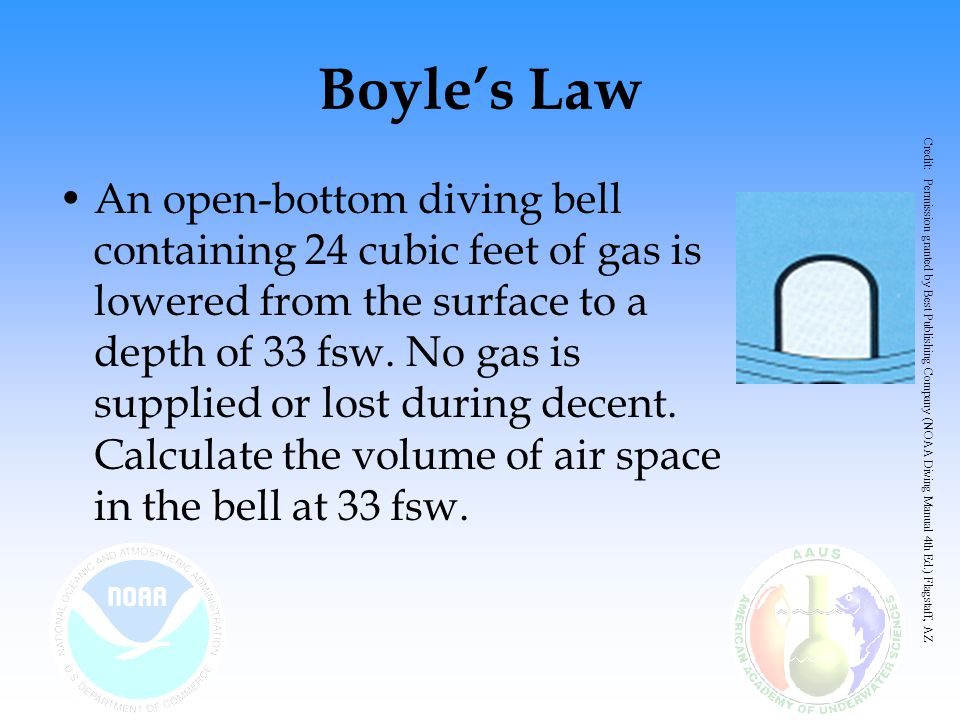 Boyle's Law An open-bottom diving bell containing 24 cubic feet of gas is lowered from the surface to a depth of 33 fsw. No gas is supplied or lost du