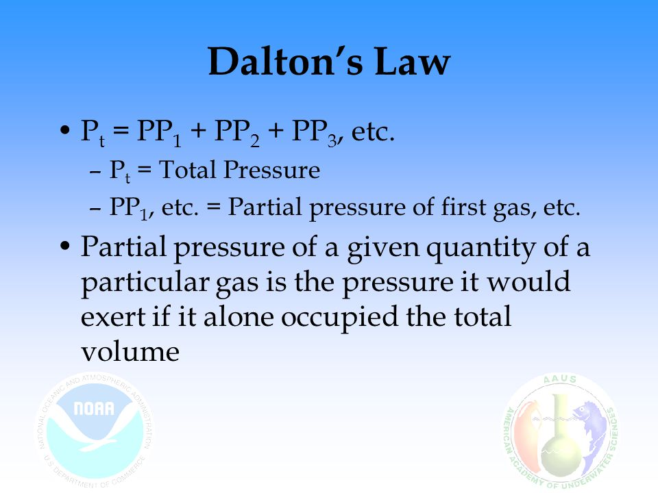 Dalton's Law P t = PP 1 + PP 2 + PP 3, etc. –P t = Total Pressure –PP 1, etc. = Partial pressure of first gas, etc. Partial pressure of a given quanti