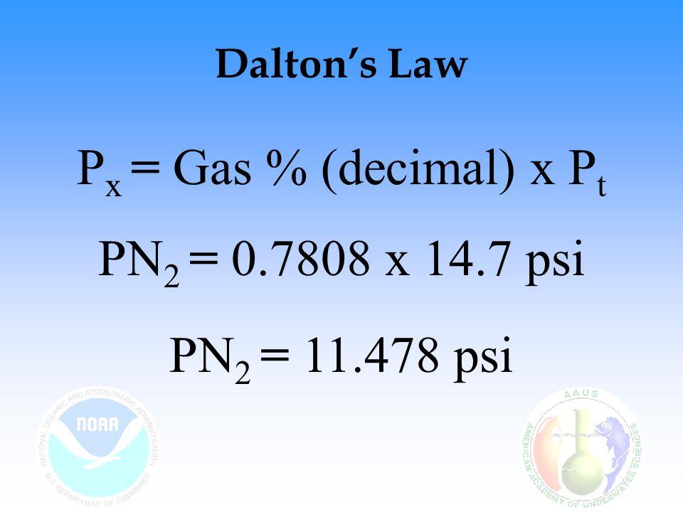 Dalton's Law P x = Gas % (decimal) x P t PN 2 = 0.7808 x 14.7 psi PN 2 = 11.478 psi