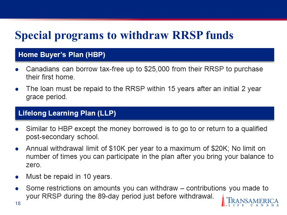 18 Special programs to withdraw RRSP funds Canadians can borrow tax-free up to $25,000 from their RRSP to purchase their first home. The loan must be