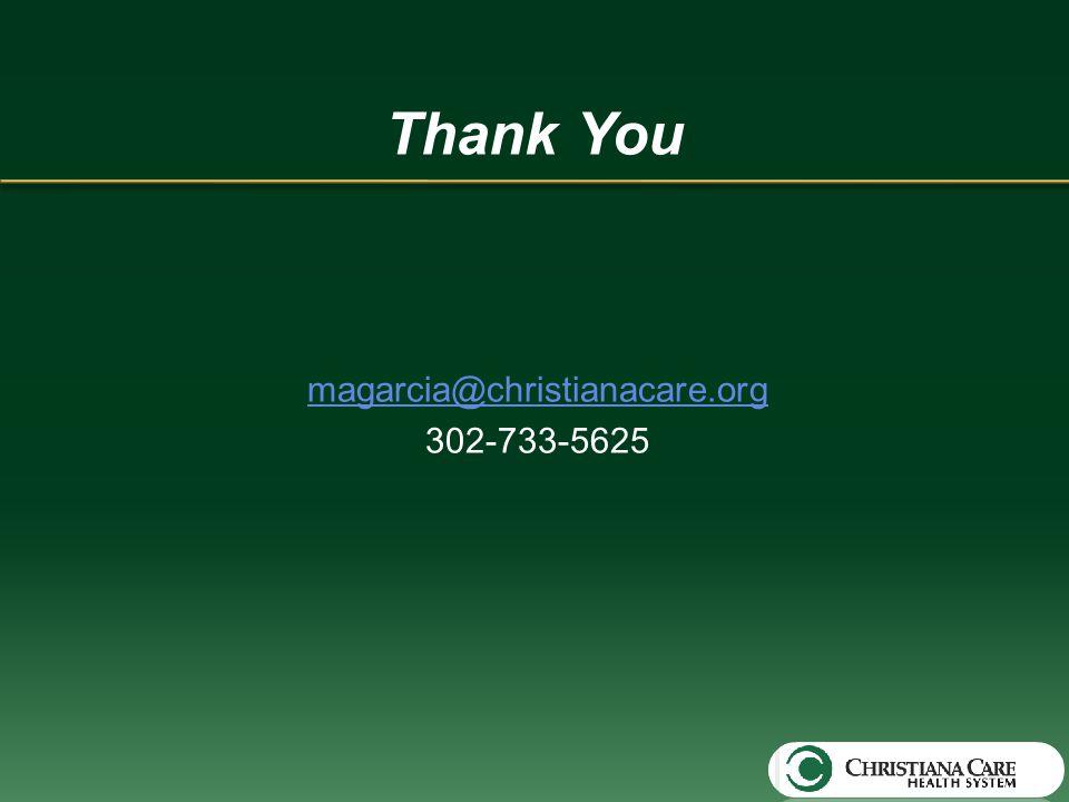 Thank You magarcia@christianacare.org 302-733-5625