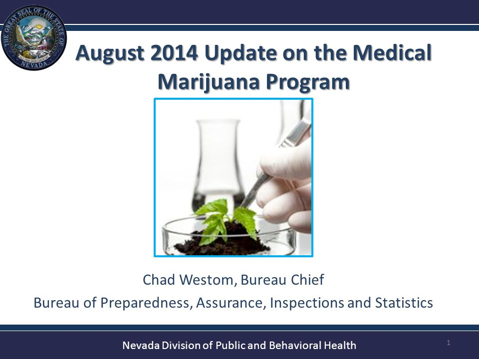 Nevada Division of Public and Behavioral Health August 2014 Update on the Medical Marijuana Program 1 Chad Westom, Bureau Chief Bureau of Preparedness, Assurance, Inspections and Statistics