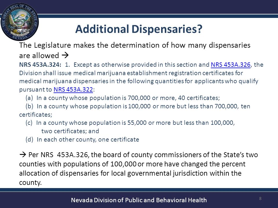 Nevada Division of Public and Behavioral Health Projected Number of Cardholders Using Data from Other States 9 Both Arizona and Colorado have legalized MME's within the past several years, providing an idea of the demand for medical marijuana cards in the coming months.
