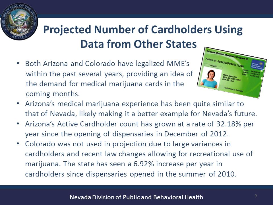 Nevada Division of Public and Behavioral Health Projected Number of Cardholders Based on Post-Dispensary Arizona 10 Projection A (% increase from Current) Current Cardholders: 6,496 (-) Dec.