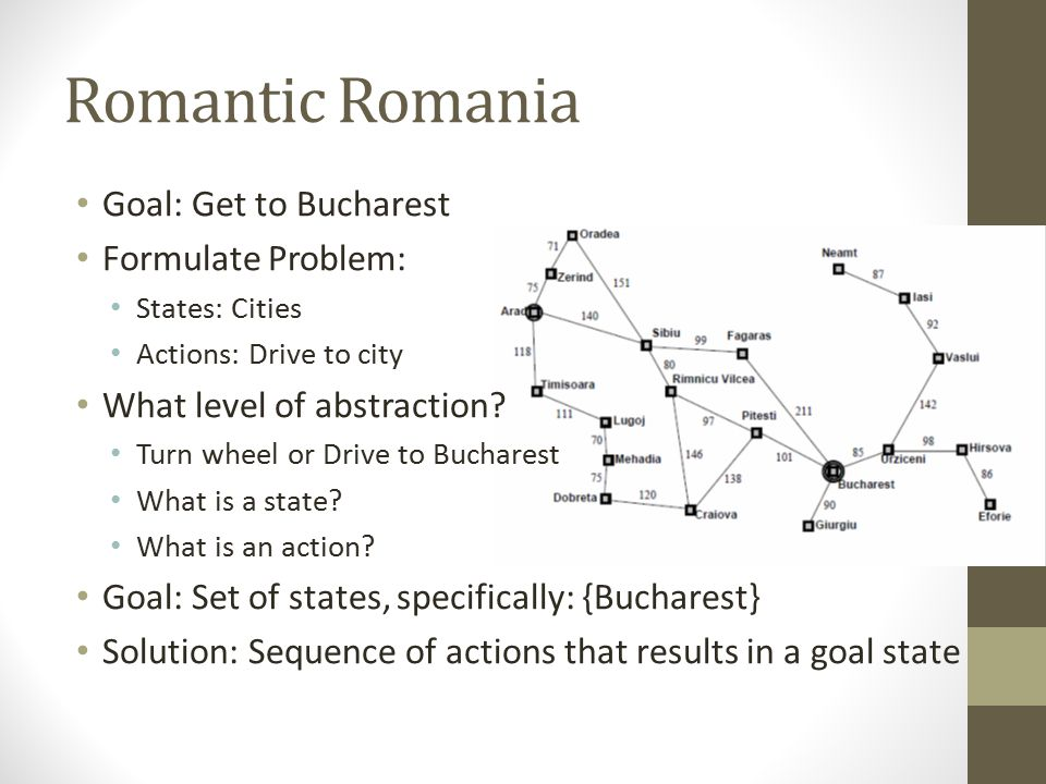 Romantic Romania Goal: Get to Bucharest Formulate Problem: States: Cities Actions: Drive to city What level of abstraction? Turn wheel or Drive to Buc