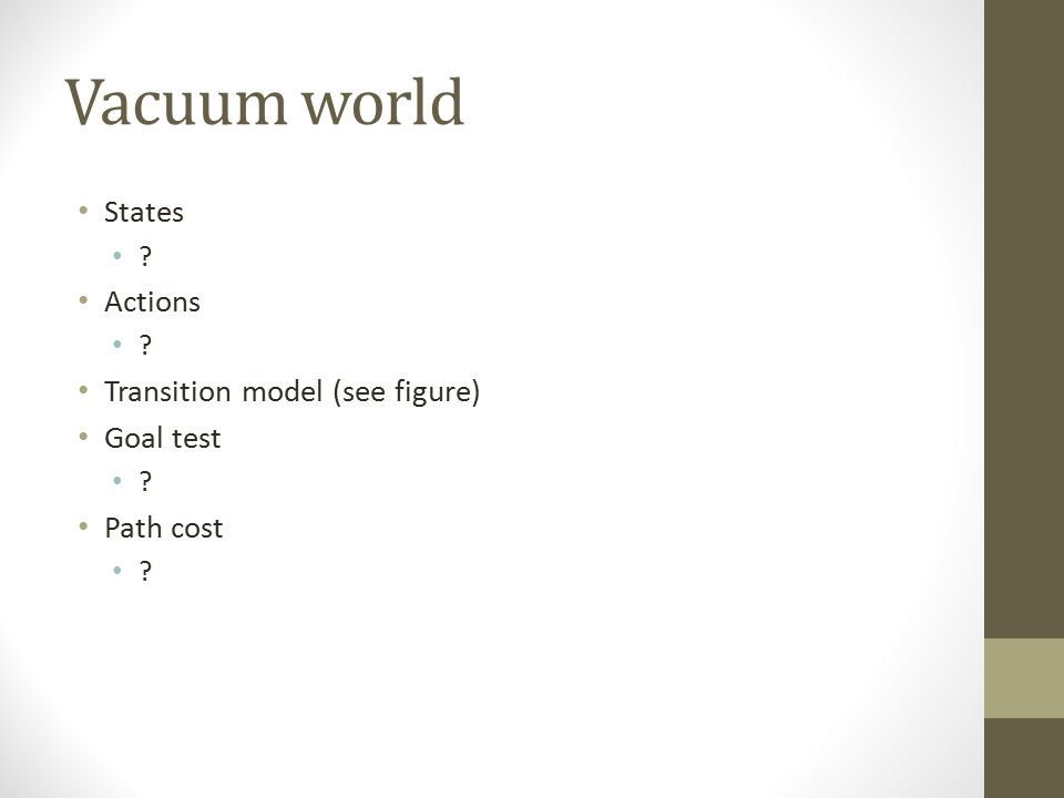 Vacuum world States ? Actions ? Transition model (see figure) Goal test ? Path cost ?