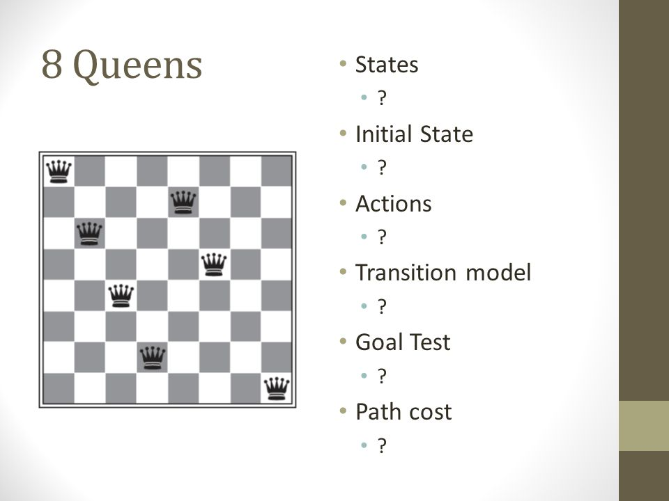 8 Queens States ? Initial State ? Actions ? Transition model ? Goal Test ? Path cost ?