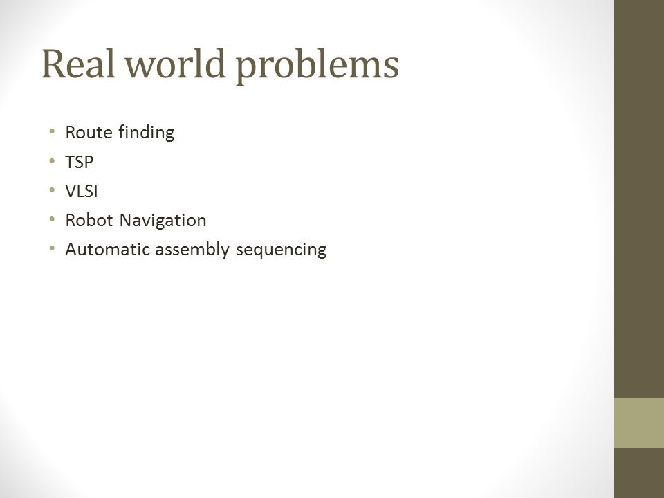 Real world problems Route finding TSP VLSI Robot Navigation Automatic assembly sequencing