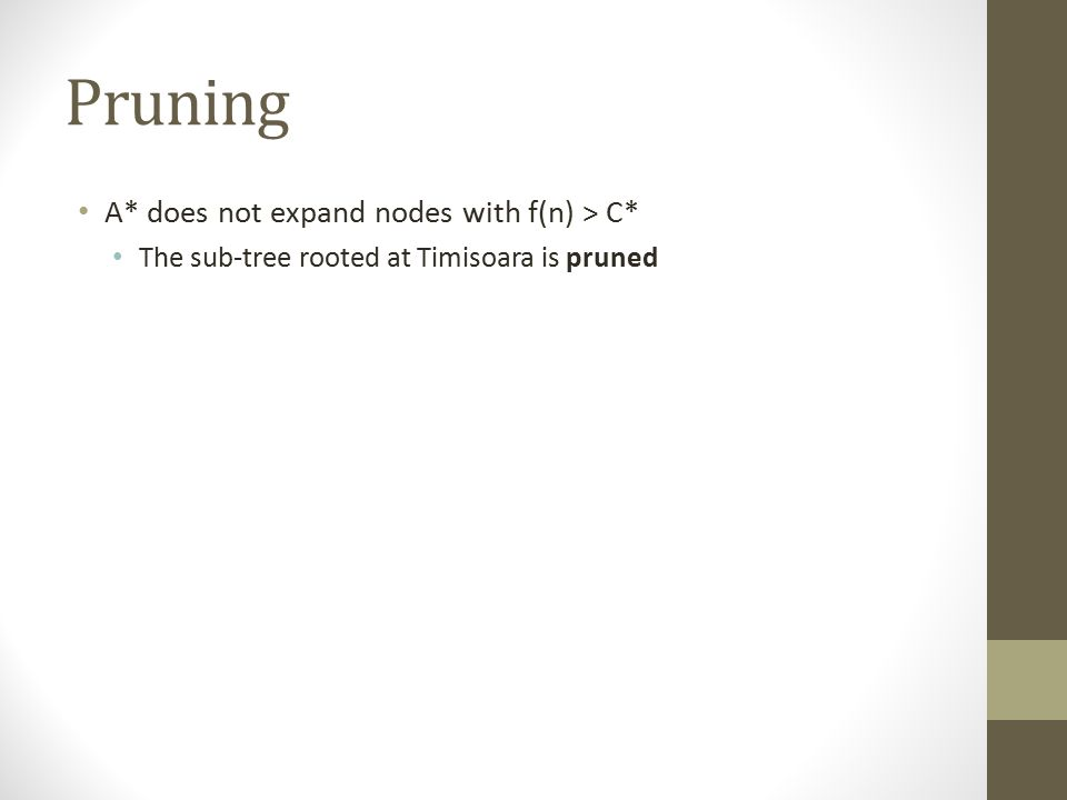 Pruning A* does not expand nodes with f(n) > C* The sub-tree rooted at Timisoara is pruned