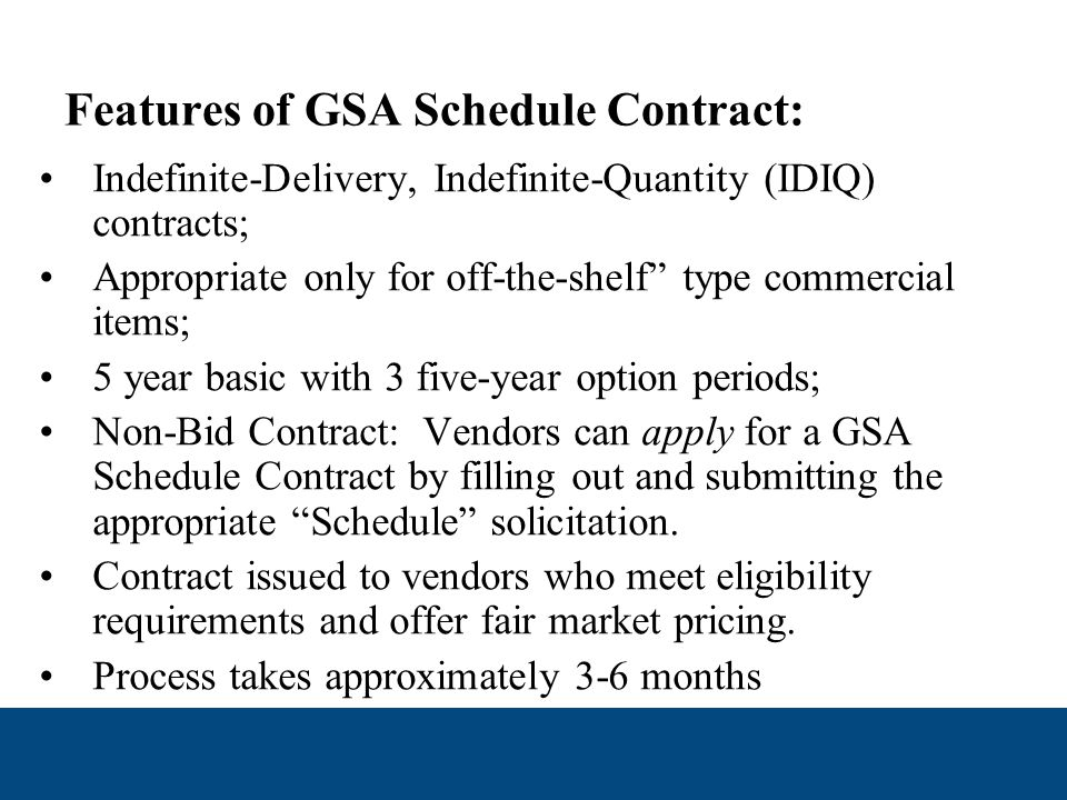 Overview of GSA Schedules Program GSA provides commercial products and services to Federal, State and Local Governments through a discount program called the GSA Multiple Award Schedules Program.